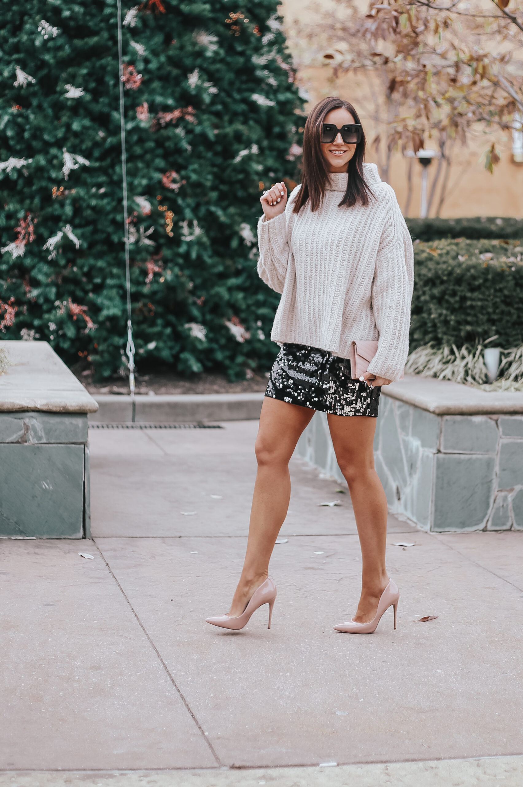 mini sequin skirt, new year's eve outfit ideas, cozy sweater with mini skirt, nude pumps