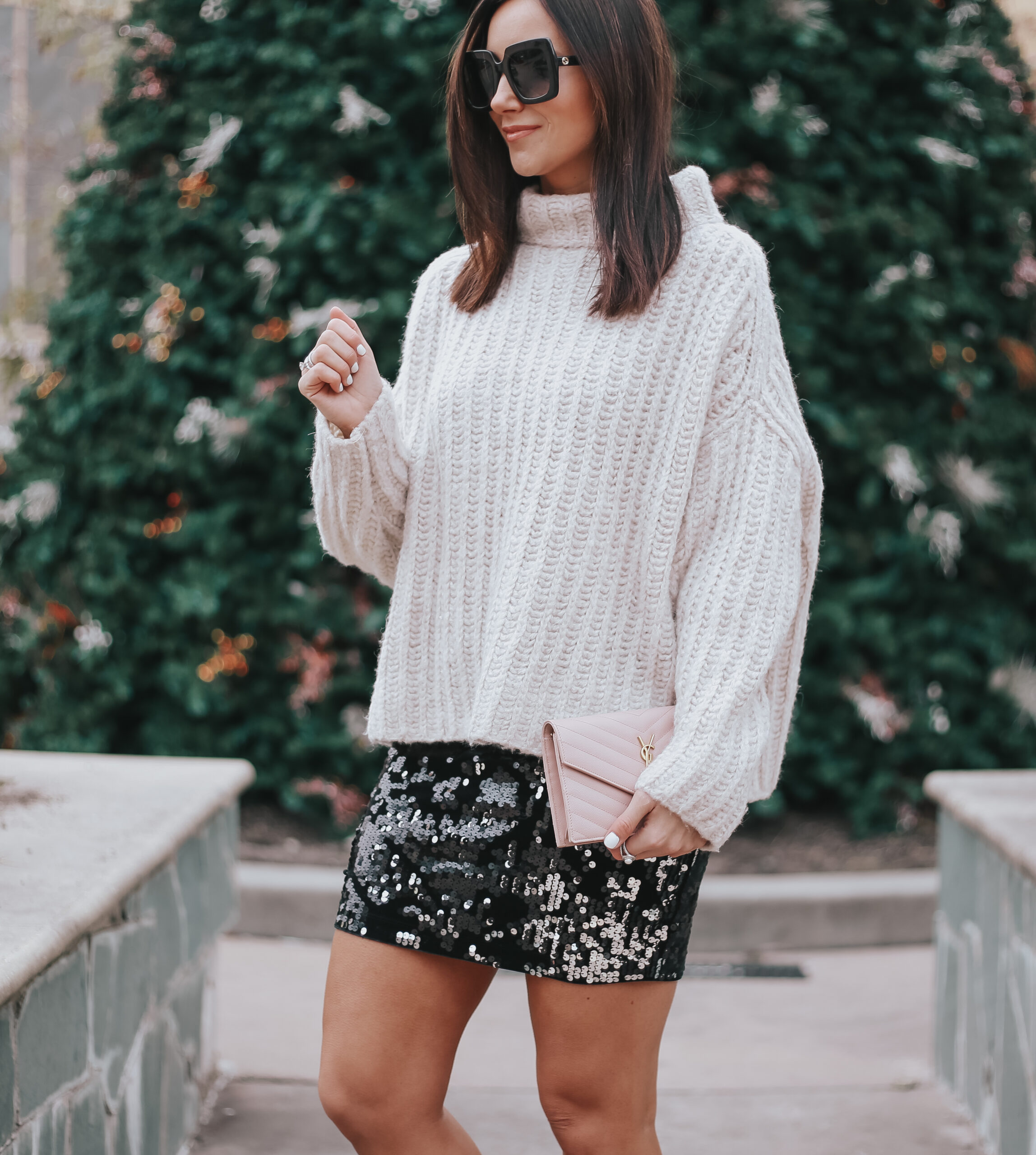 how to dress for cold new year's eve, new year's eve outfit with short sequin skirt