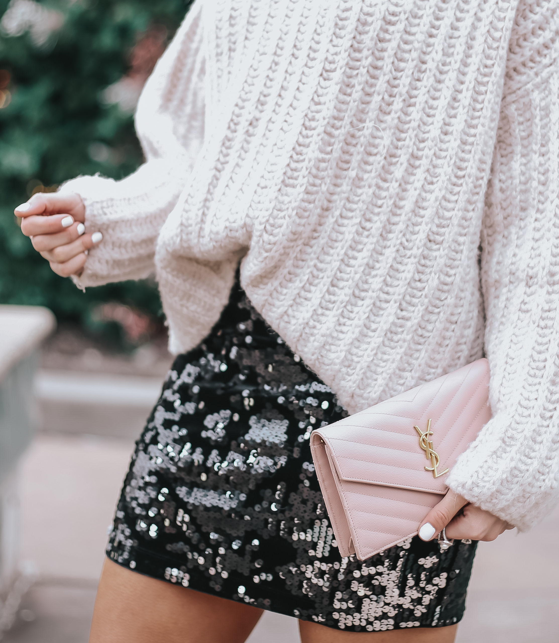 how to style sequins for the holidays, how to style chunky sweater with mini skirt