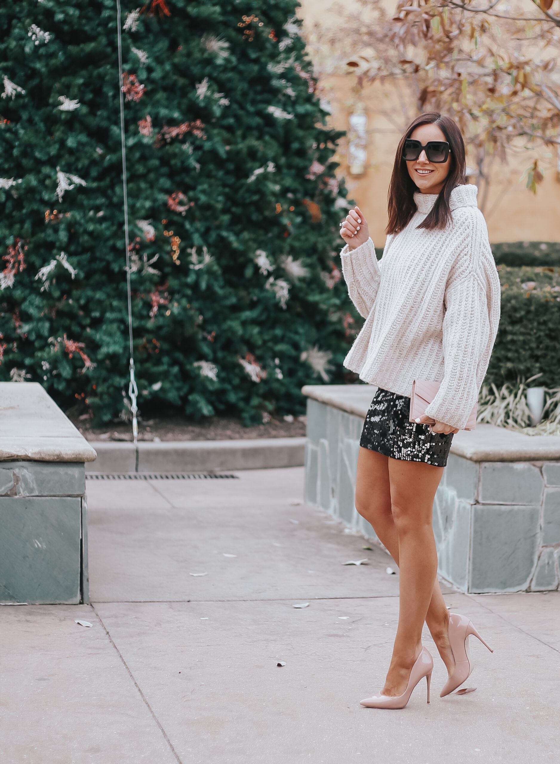 holiday party outfit, cozy holiday outfit, sequin mini skirt for new years eve