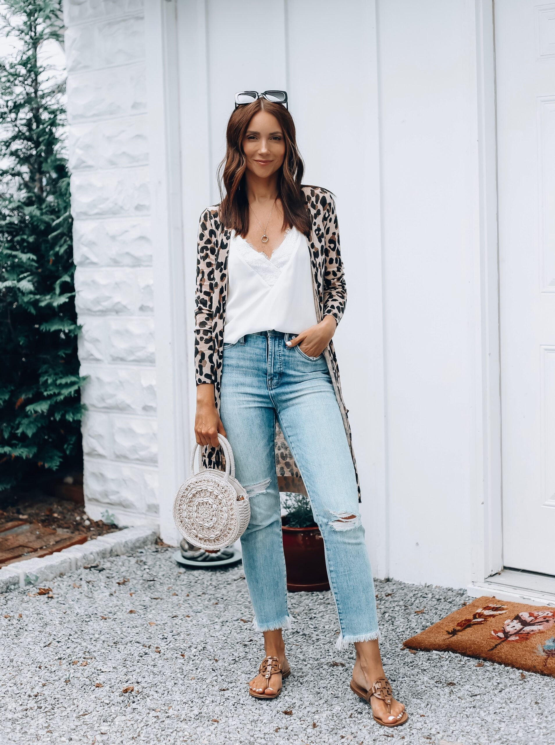 leopard cardigan outfit