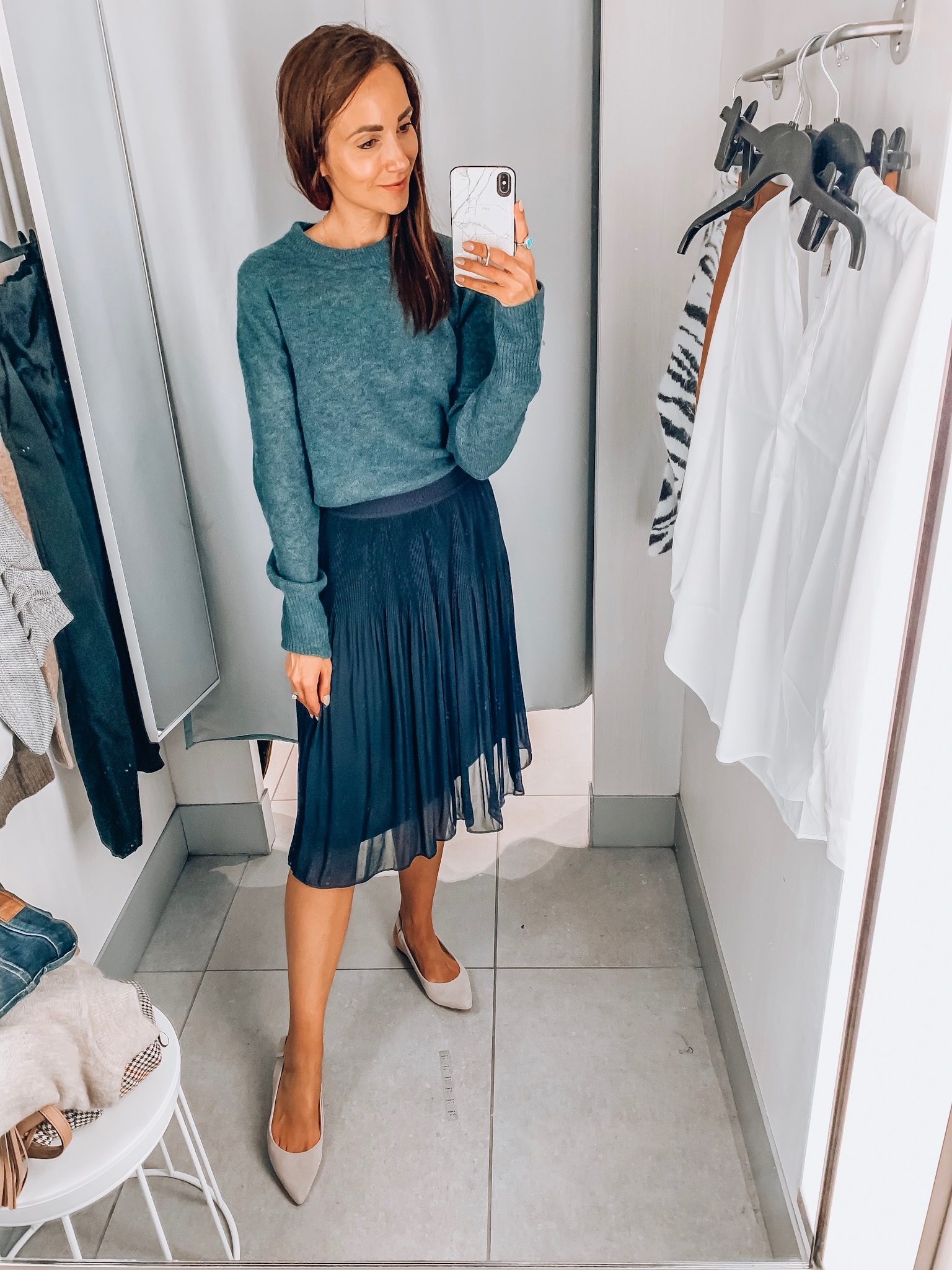 sweater, skirt, h&m try-on