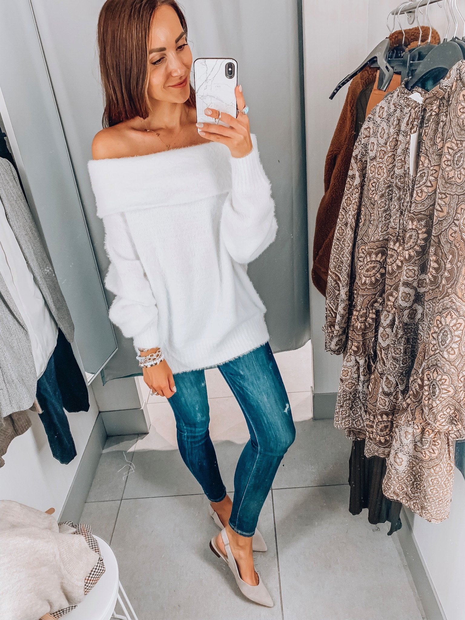 white sweater, h&m try-on