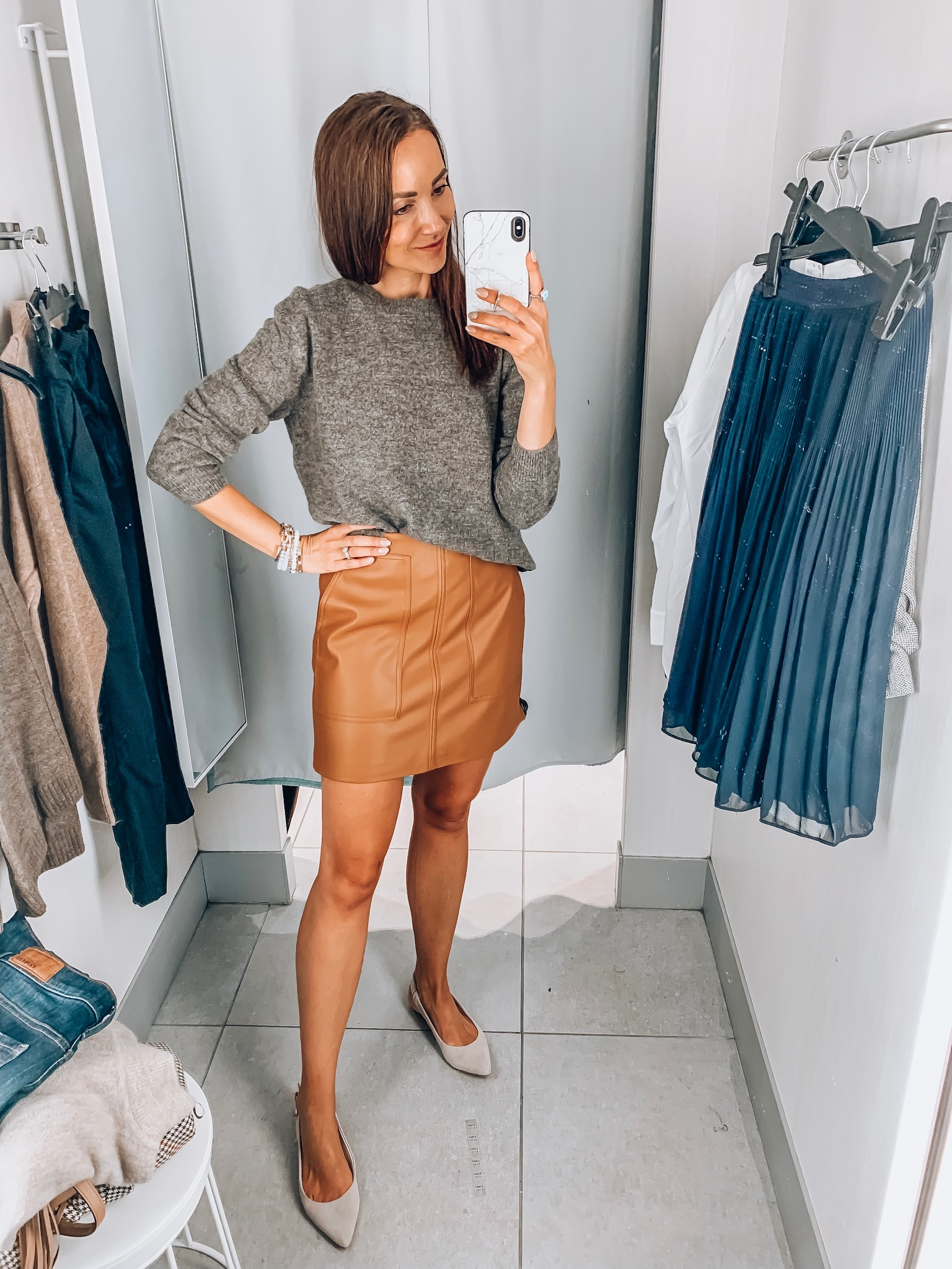 faux leather skirt, sweater, h&m try-on