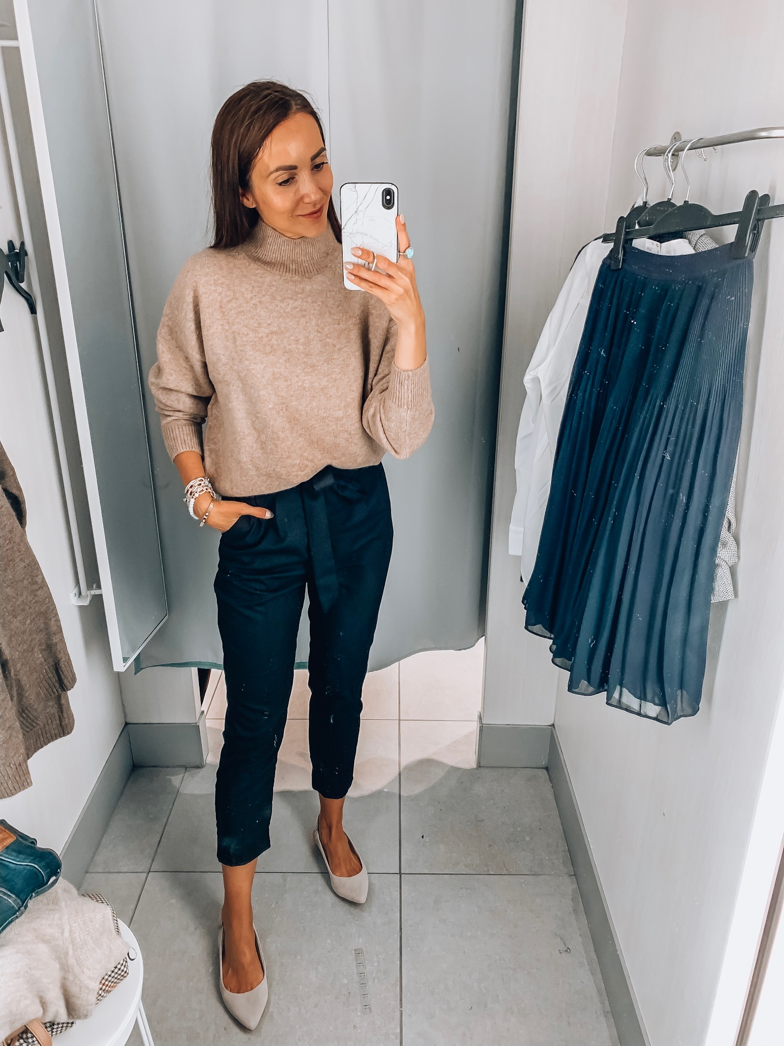 sweater, paperbag trousers, h&m try-on