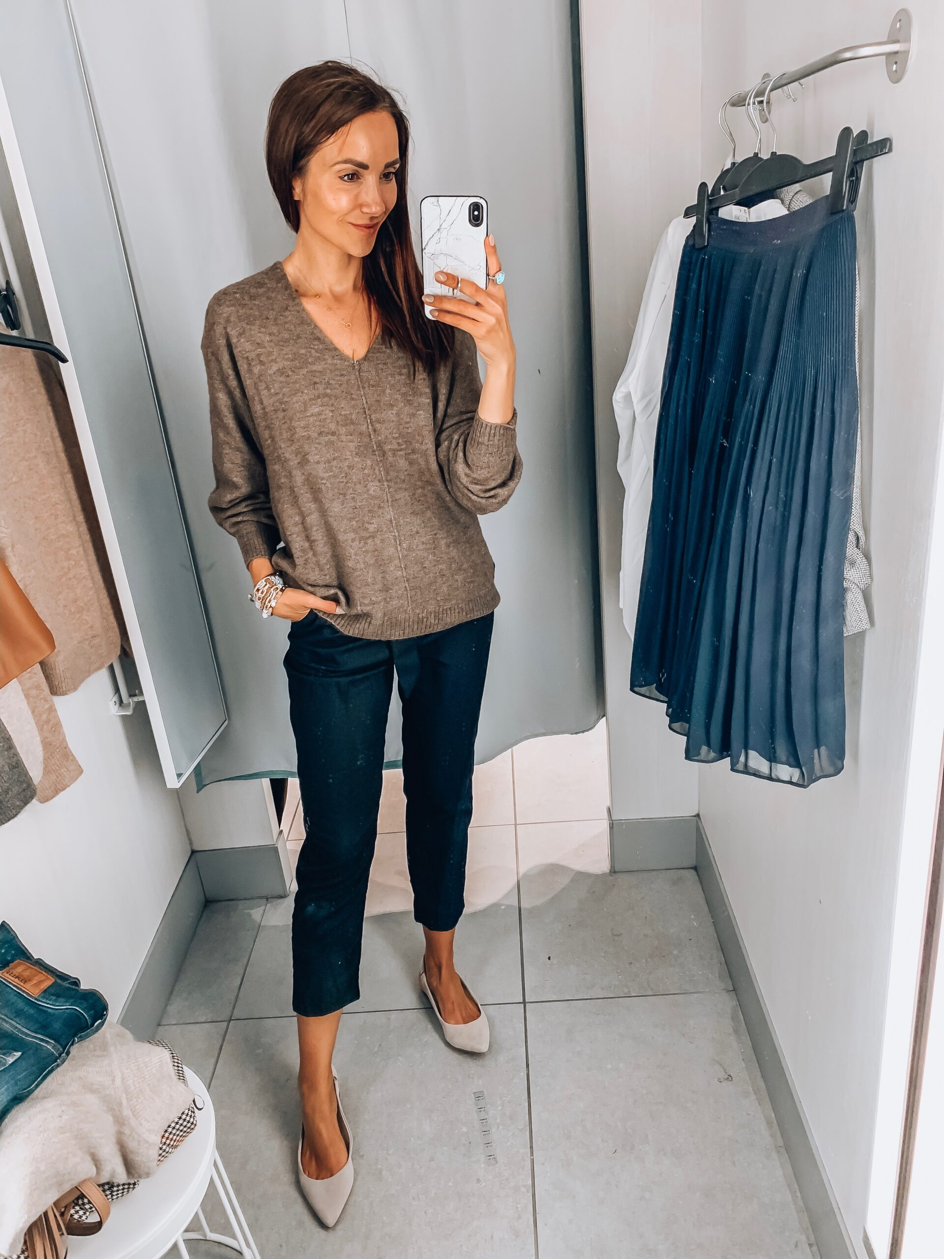 v neck sweater, paperbag trousers, h&m try-on