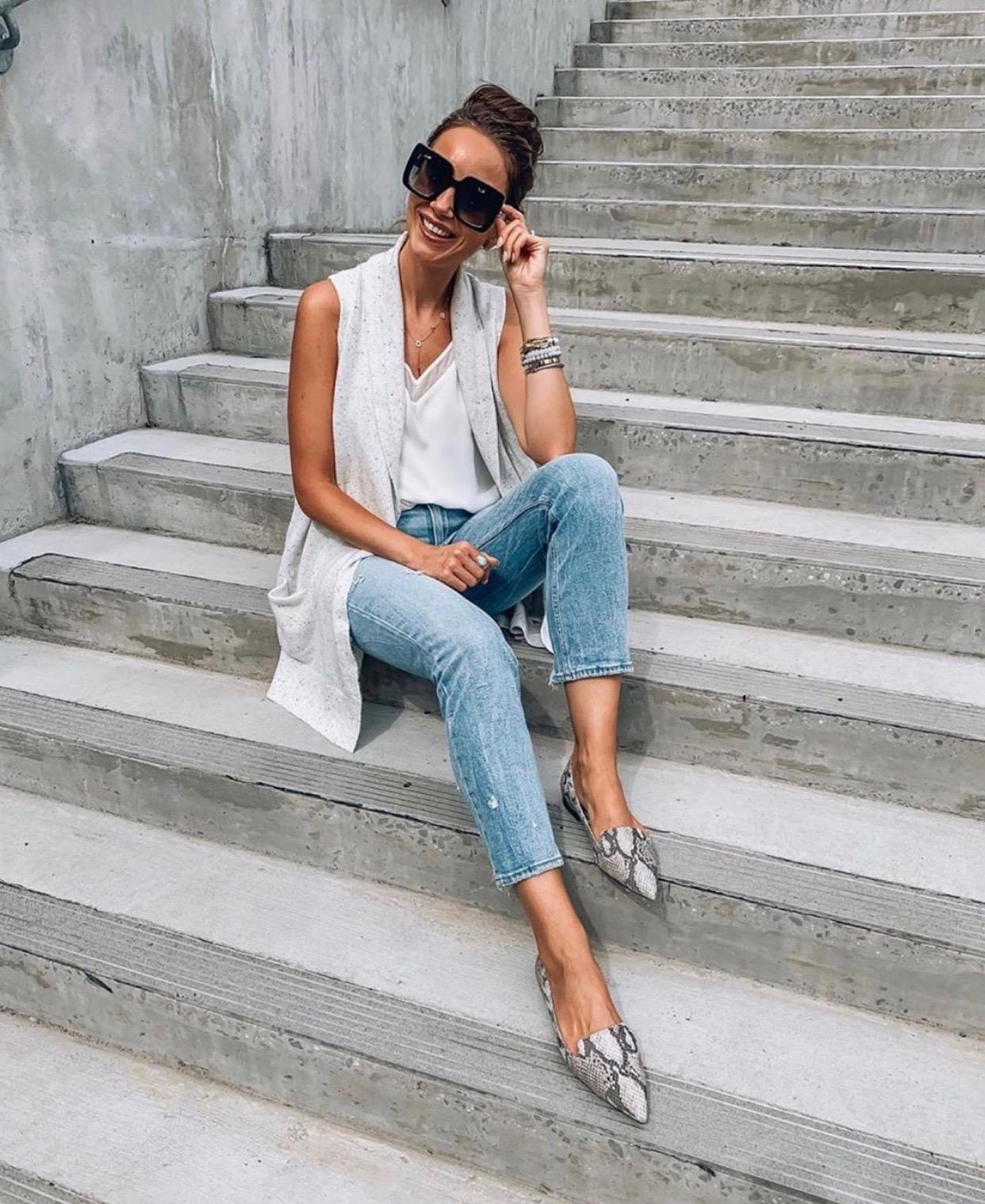 Snakeskin Loafers, Jeans, Sweater Vest
