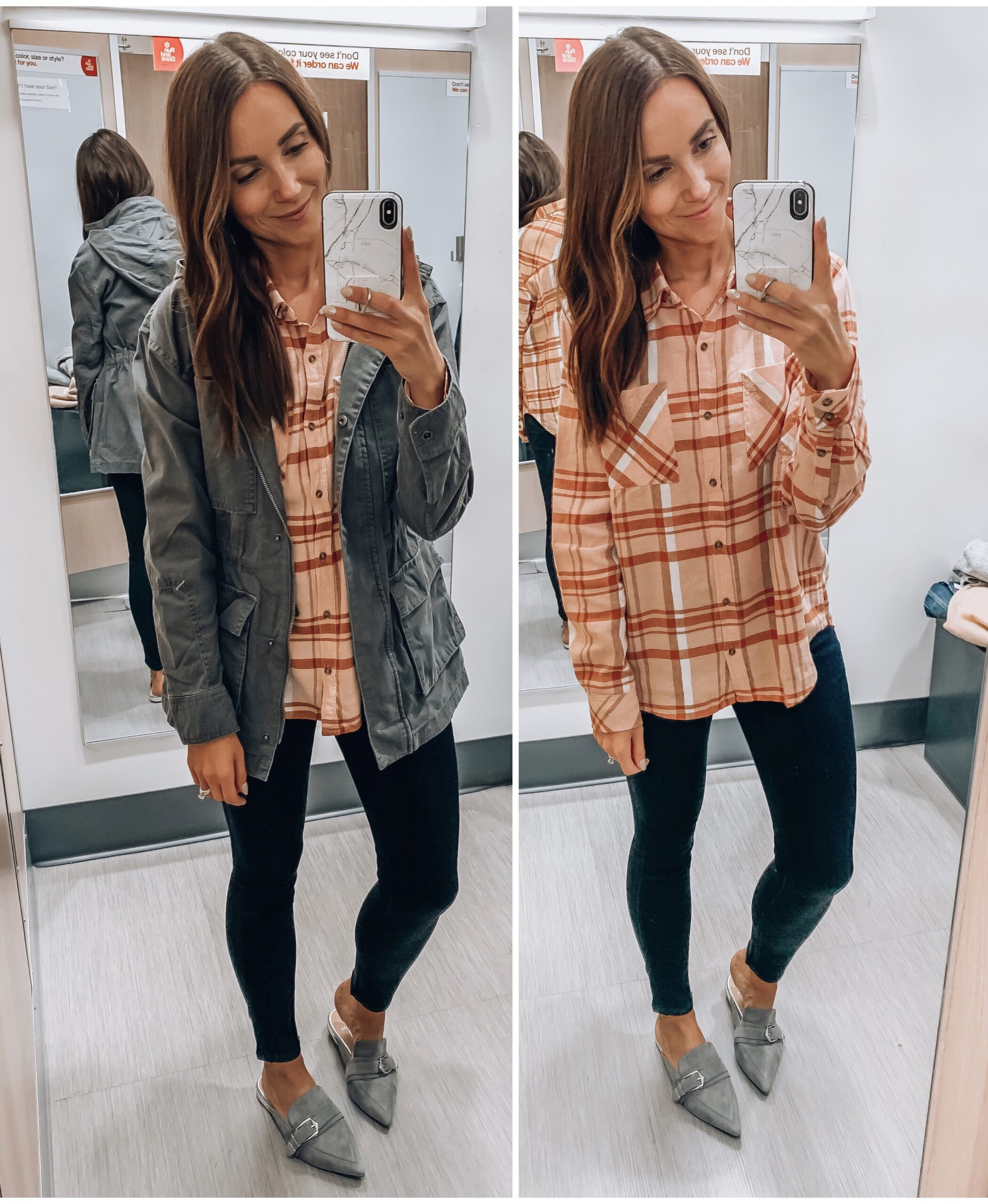 FLANNEL SHIRT WITH GREEN UTILITY JACKEY, FALL OUTFIT IDEAS, APPLE PICKING OUTFIT