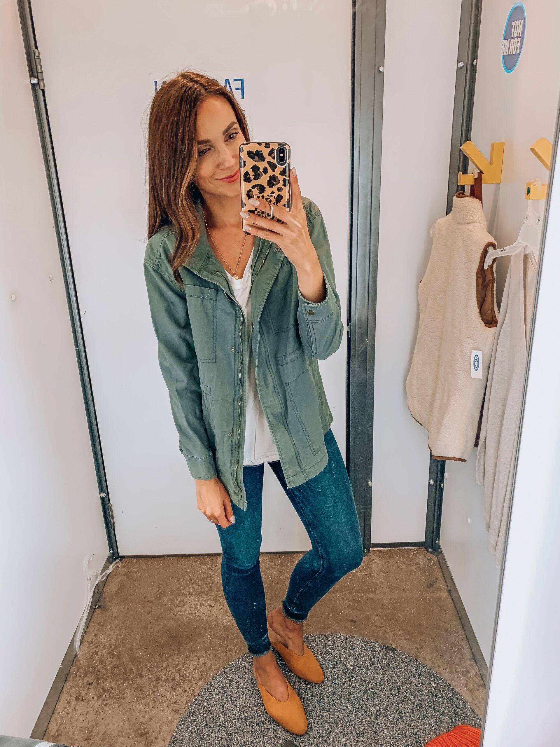 jacket, long tee, jeans, muiles