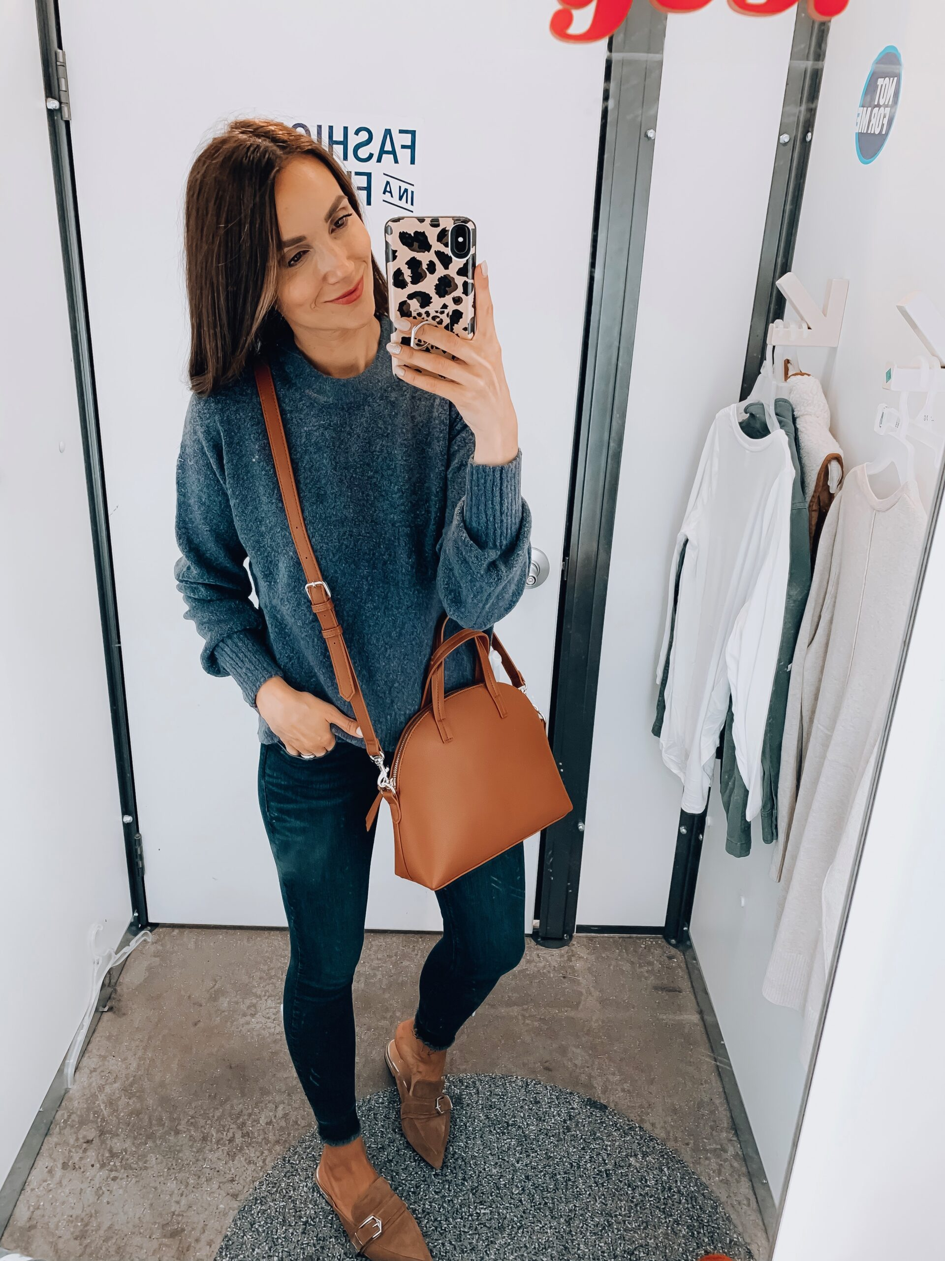 SWEATER, JEANS, BAG