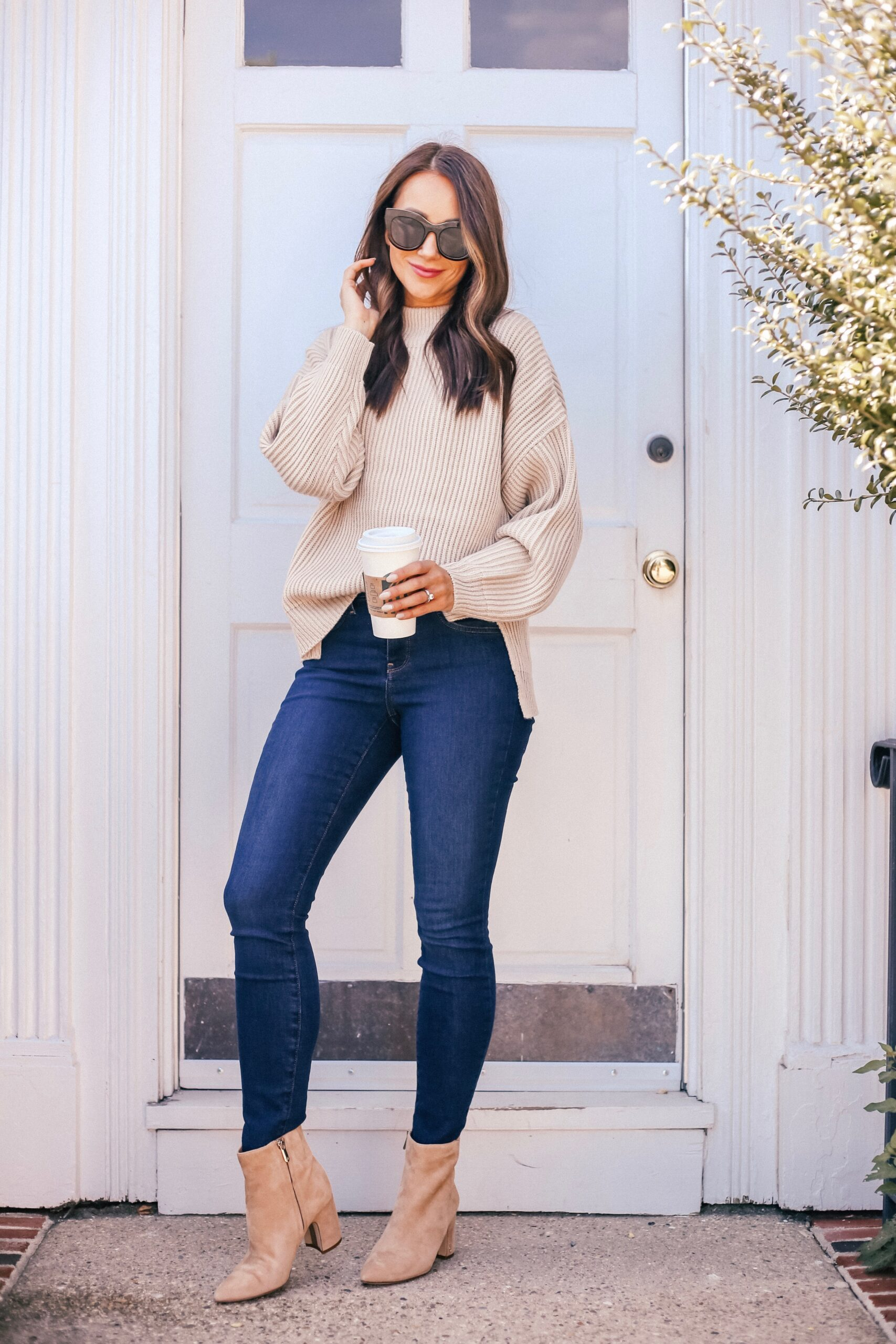 cowl neck sweater, jeans, booties