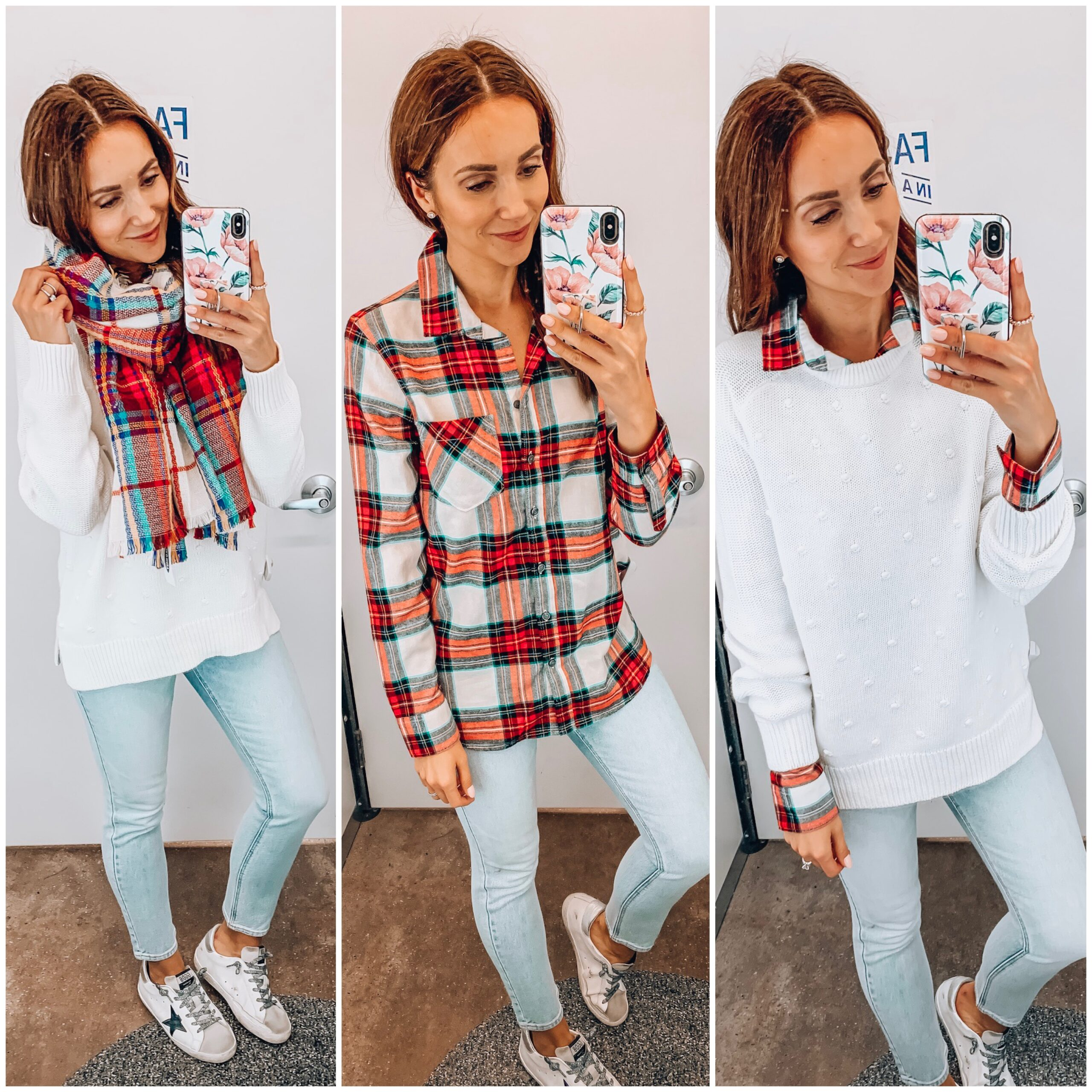 SWEATER, FLANNEL, SCARF, JEANS