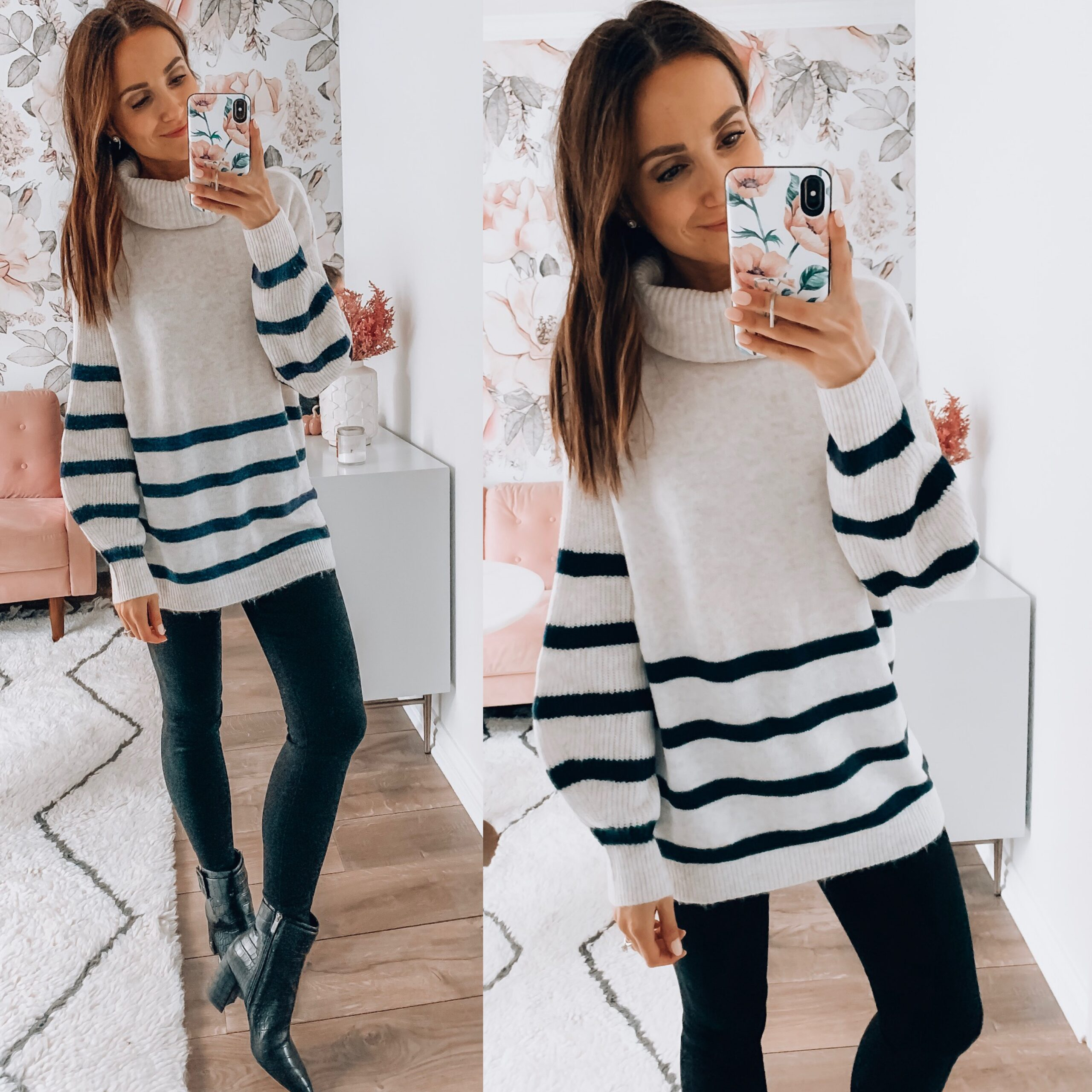 STRIPED SWEATER, JEGGINGS, BOOTIES