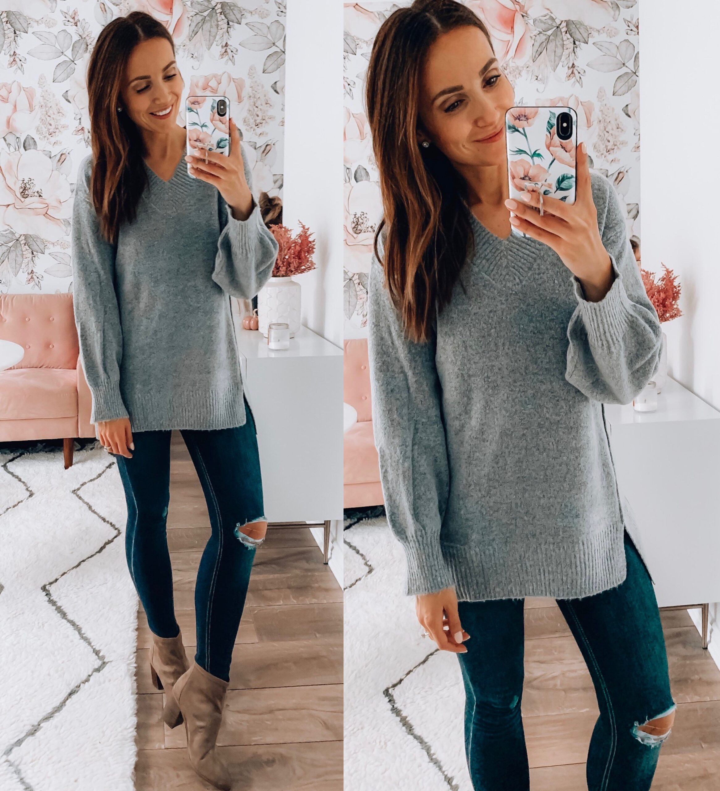 TUNIC SWEATER, JEANS
