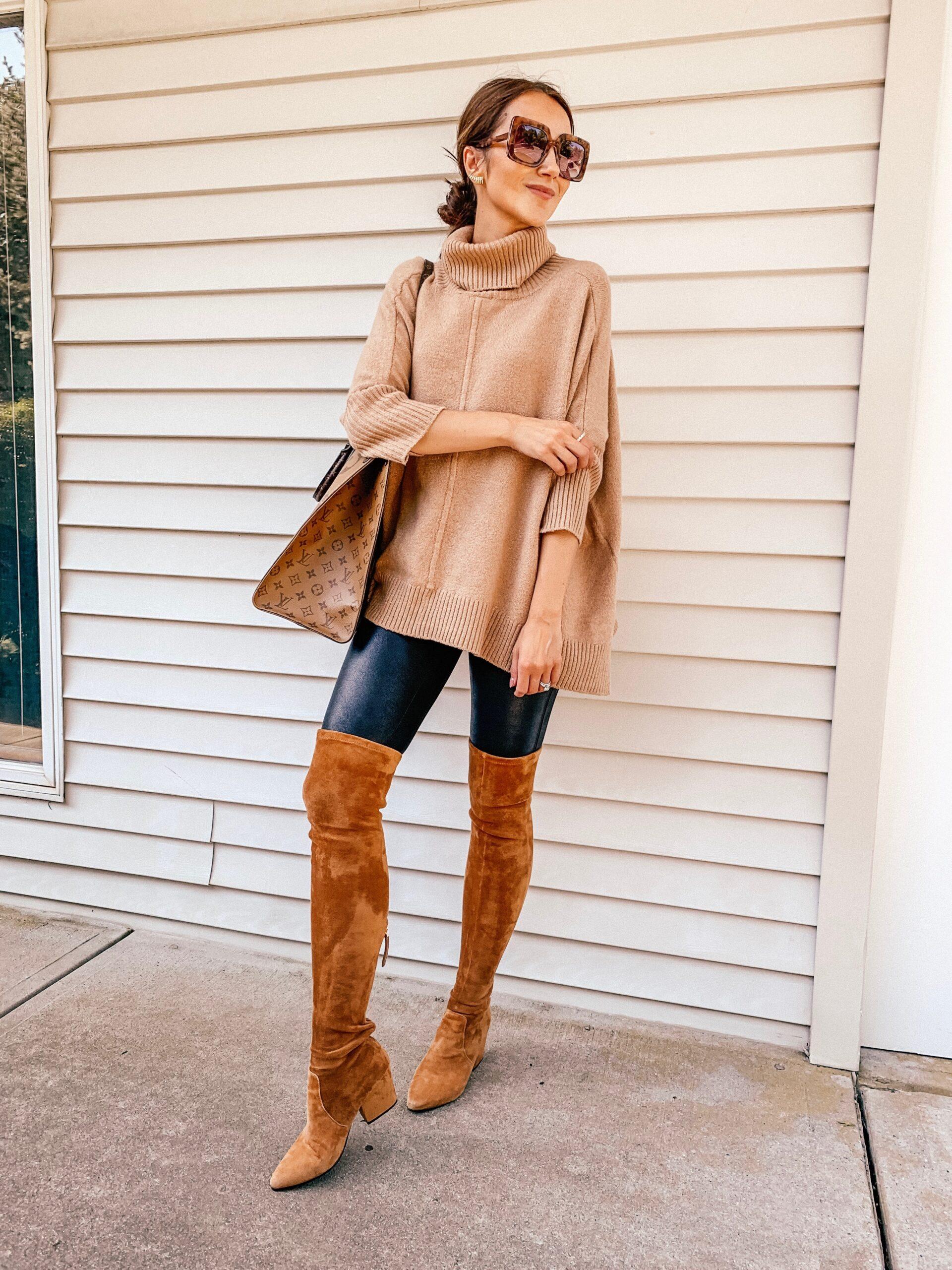 Outfits for leggings, spanx leggings, poncho