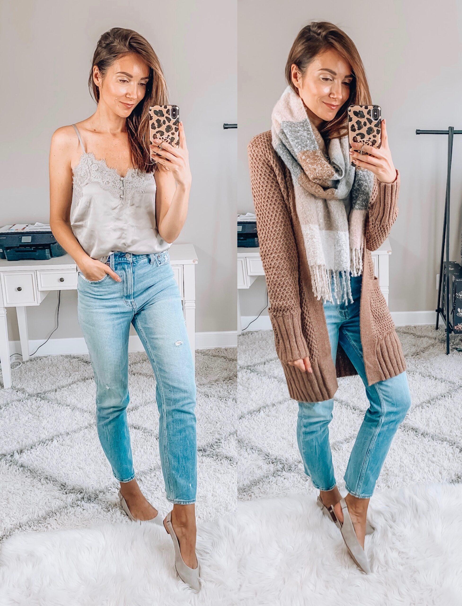 Cami, Jeans, Cardigan, Blanket Scarf