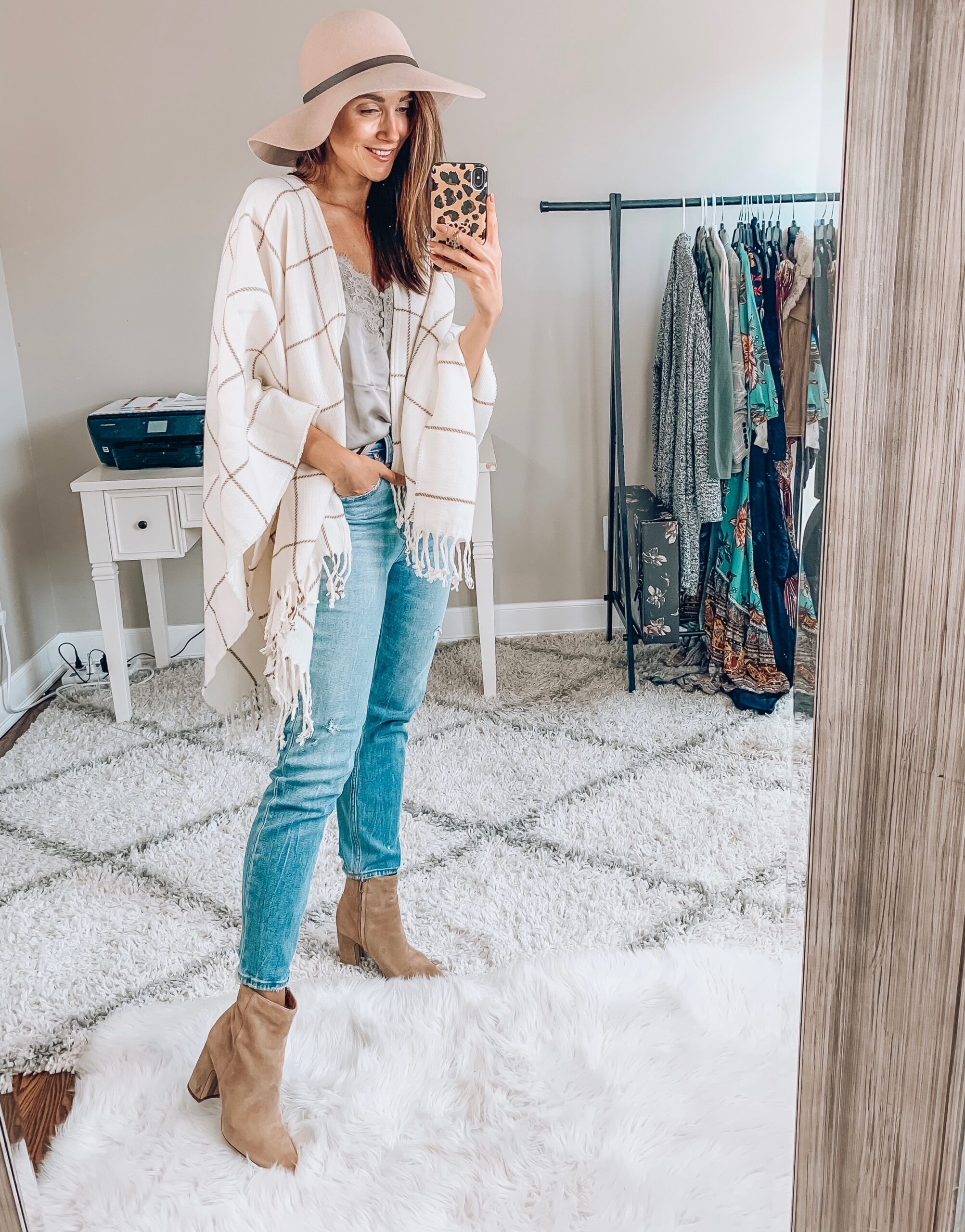 Jeans, Cami, Wrap, Hat, Booties