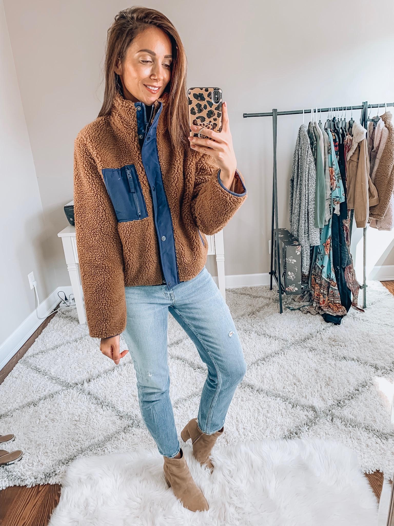 Sherpa jacket, jeans