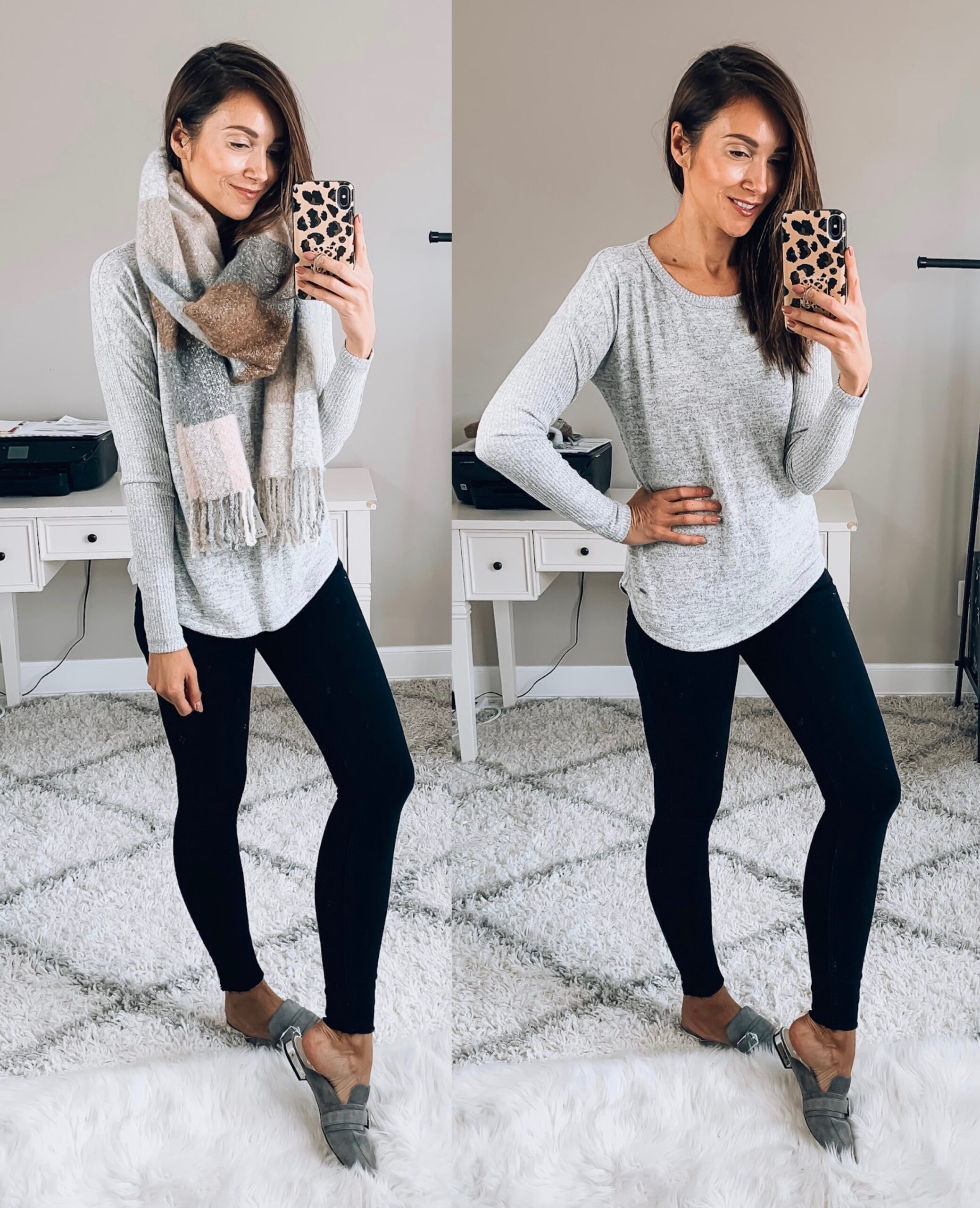 Tee, Jeans, Scarf, Mules