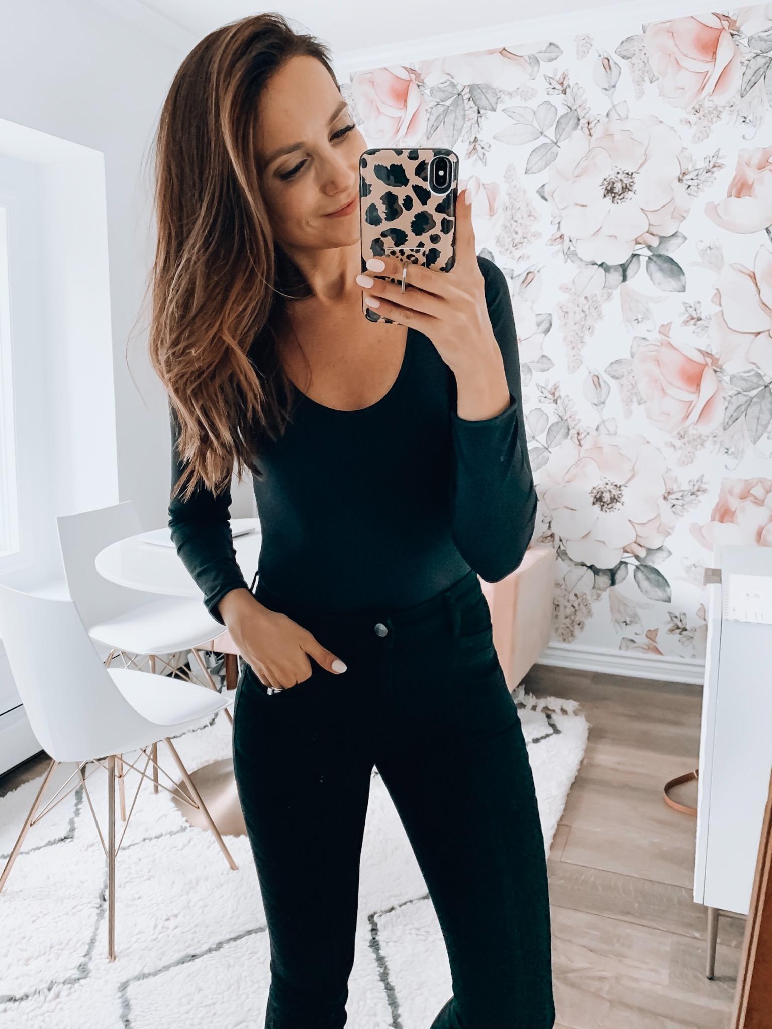 Bodysuit, Jeans, Flats