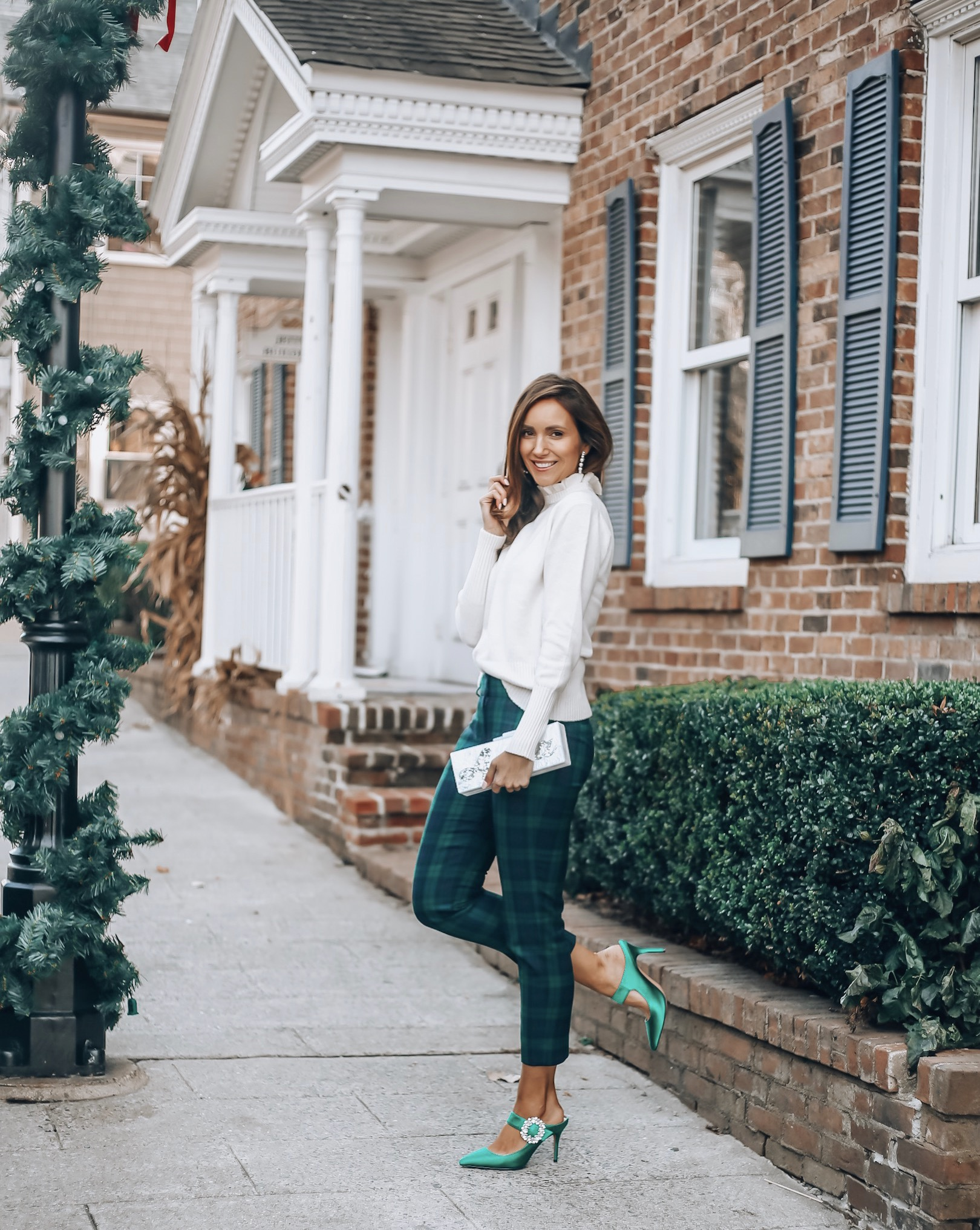 Holiday style with j.crew, plaid pants, sweater, kitten heels