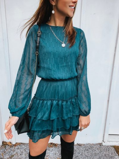 Green smocked dress, Over the knee boots