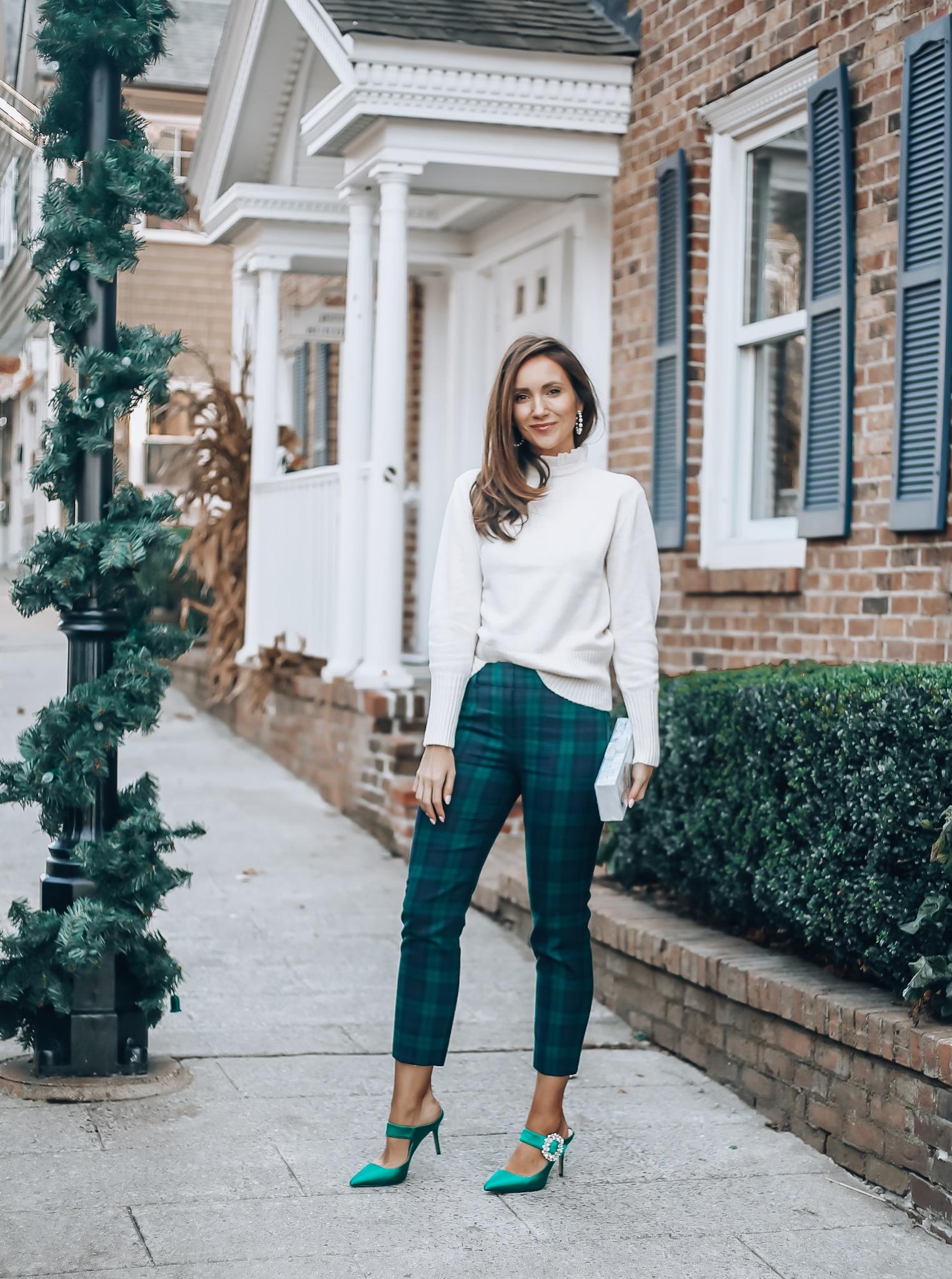 Sweater, Plaid Pants, Maryjane heels, J.Crew style