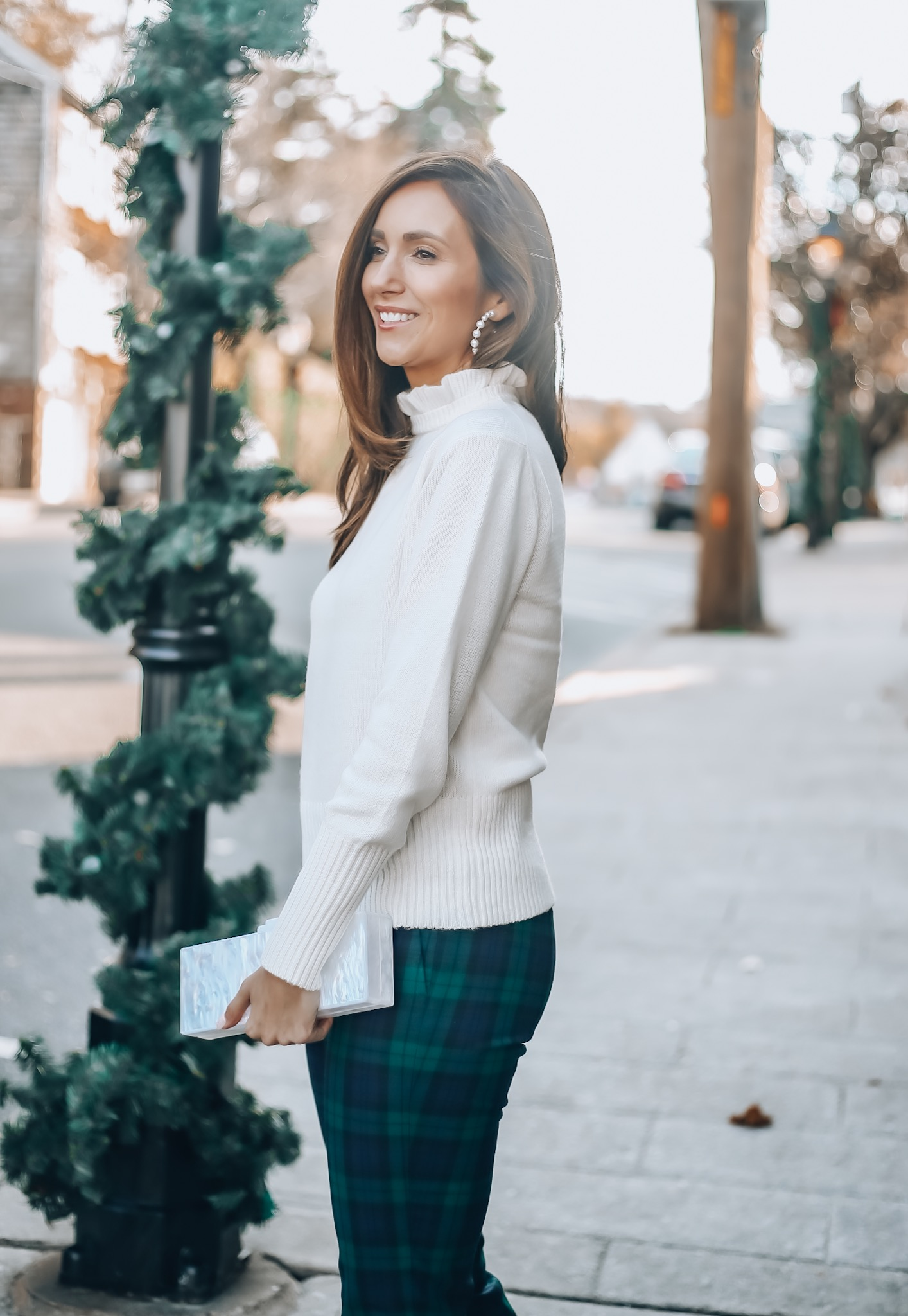 Sweater, plaid pants, j. crew holiday style