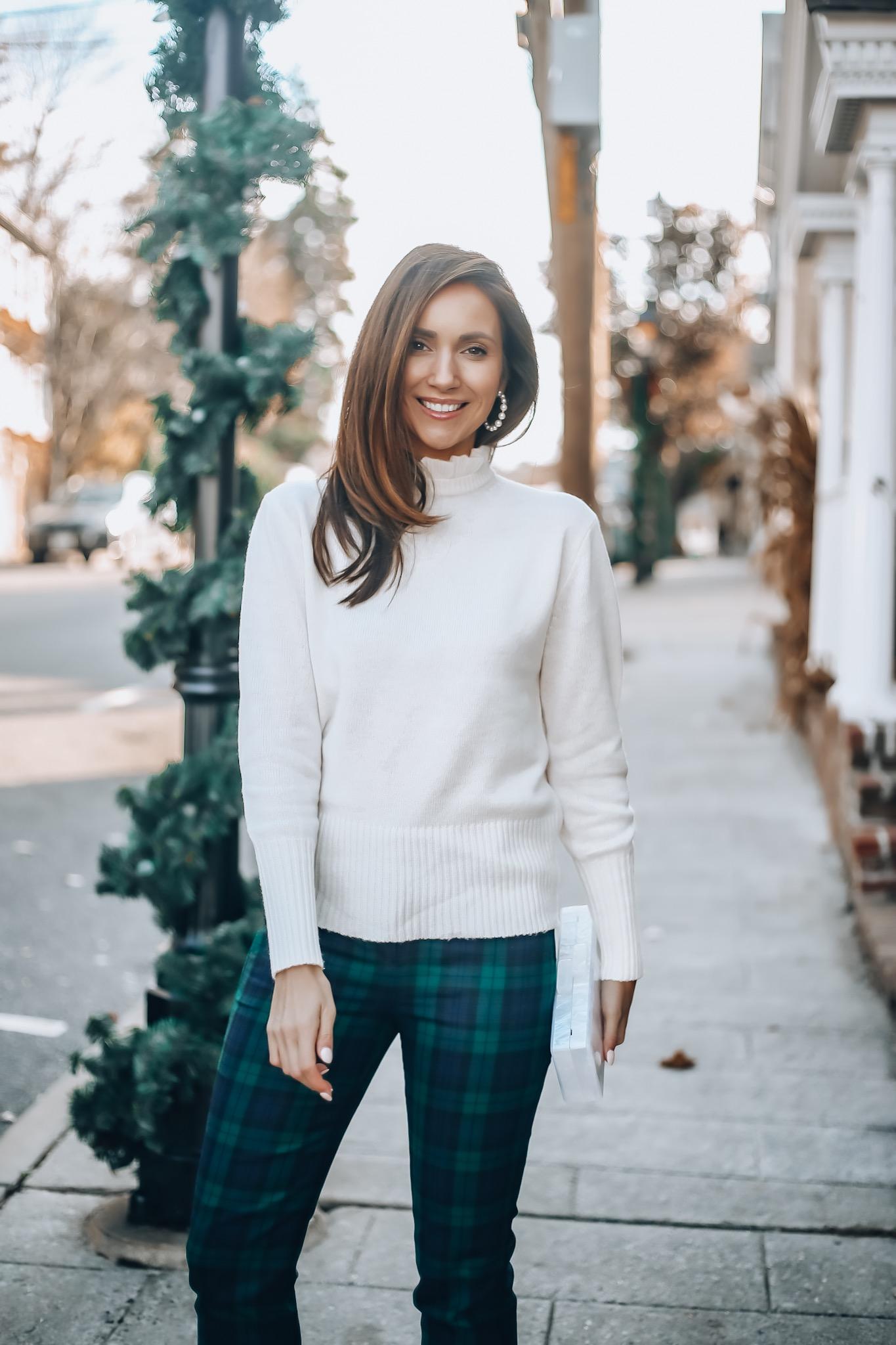 Sweater, plaid pants, J.Crew holiday style