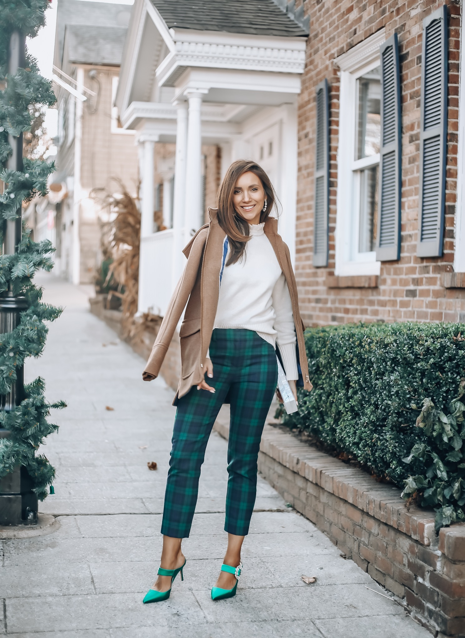 Wool Coat, Sweater, Plaid pants, holiday style with j.crew