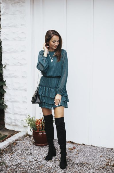 Green Dress, Over the Knee Boots