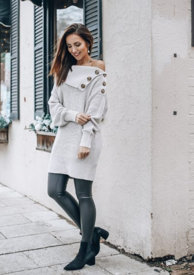 Tunic sweater with buttons, Vegan Leather Leggings