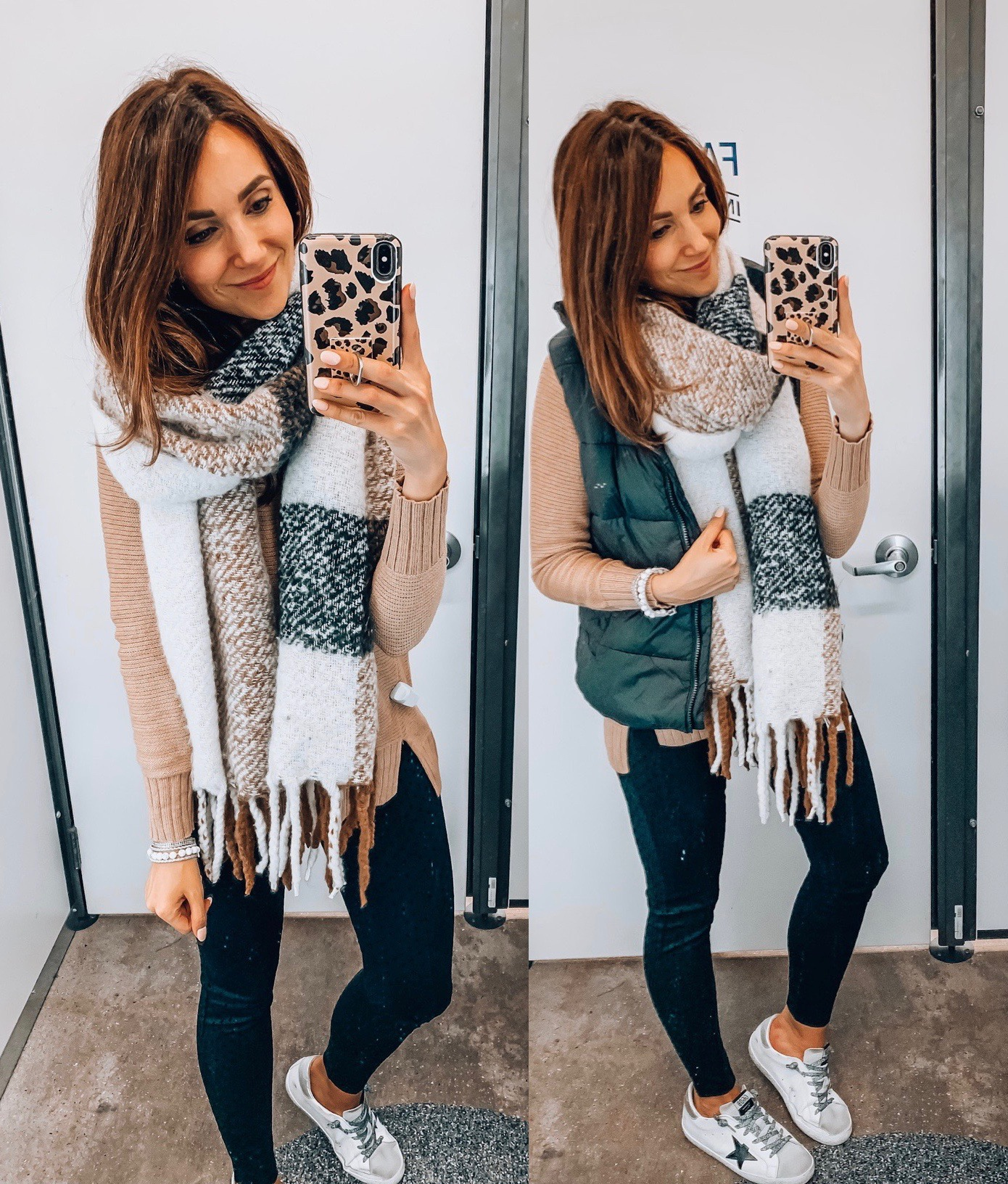 sweater, scarf, pants,vest, fall outfit