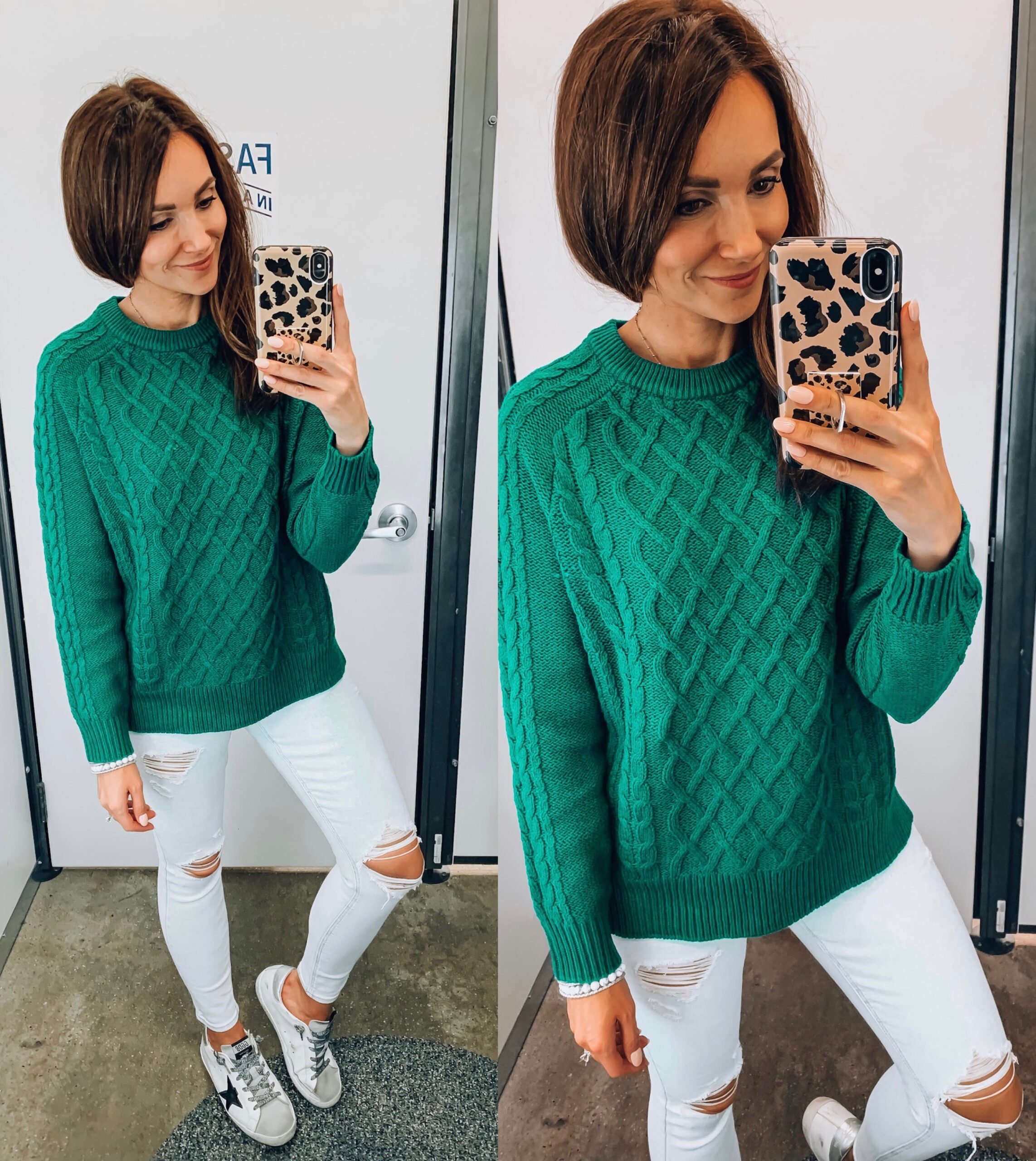 green sweater, skinny jeans, fall outfit