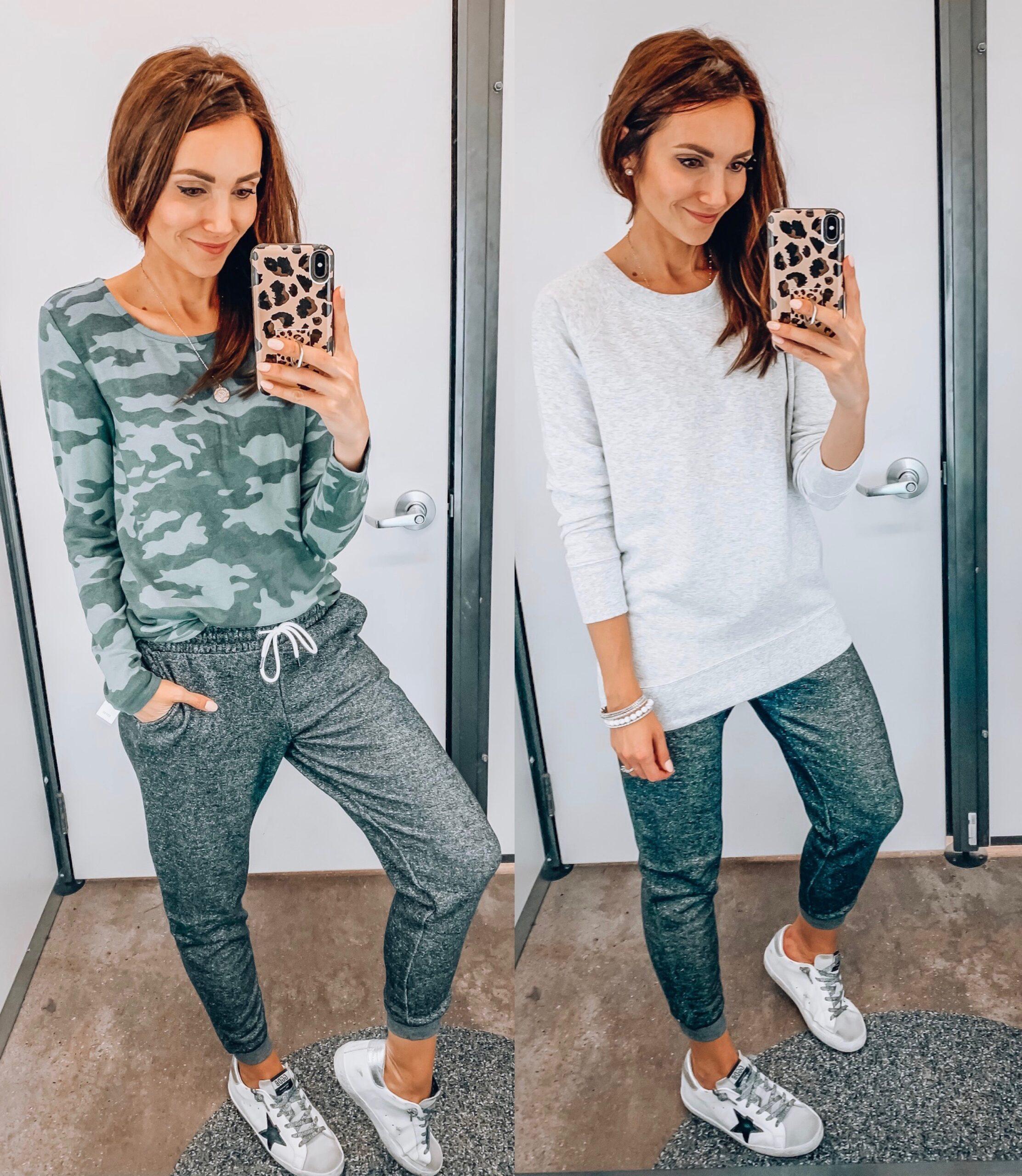 Loungewear, camo sweatshirt, grey joggers