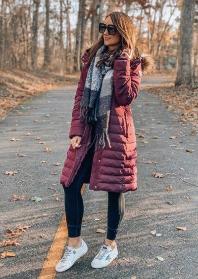 Long line puffer coat, scarf, leggings, fall style
