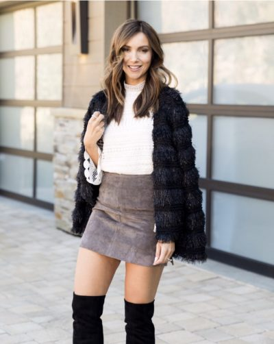 Cardigan with mini skirt and OTK boots