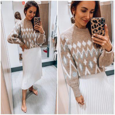Fair Isle Sweater, White Pleated Skirt
