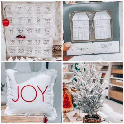 Holiday home decor, advent calendar, salt and pepper shakers, pillow, tree