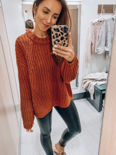 Knit Sweater, Faux Leather Leggings
