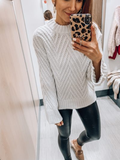 White sweater, faux leather leggings