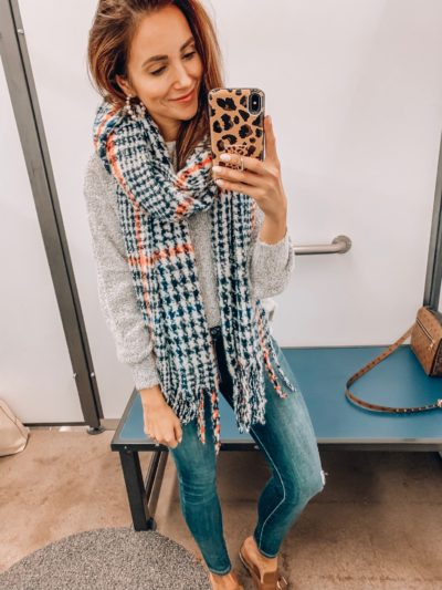 Sweater, Scarf, Jeans