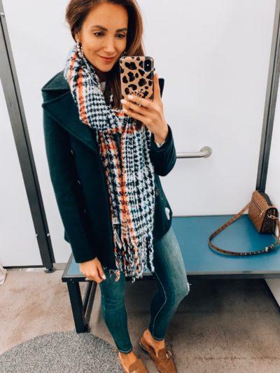 Pea coat, scarf, jeans,