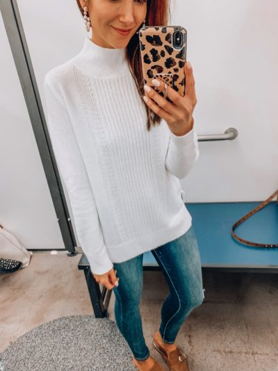 Pointelle sweater, Jeans, Mules