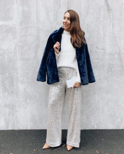 Banana Republic Coat, Sequin Pants, Sweater