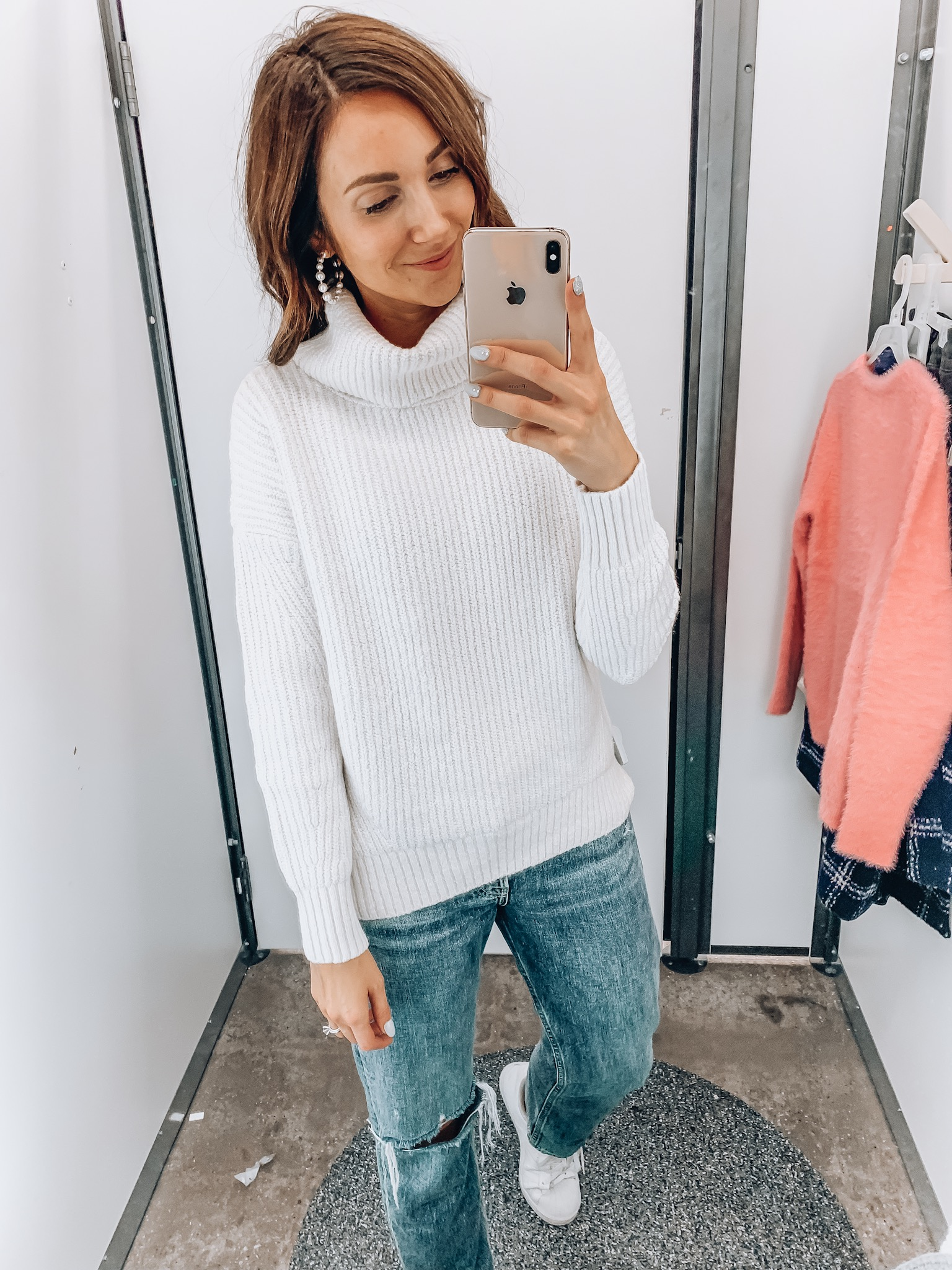 woman wearing turtleneck sweater