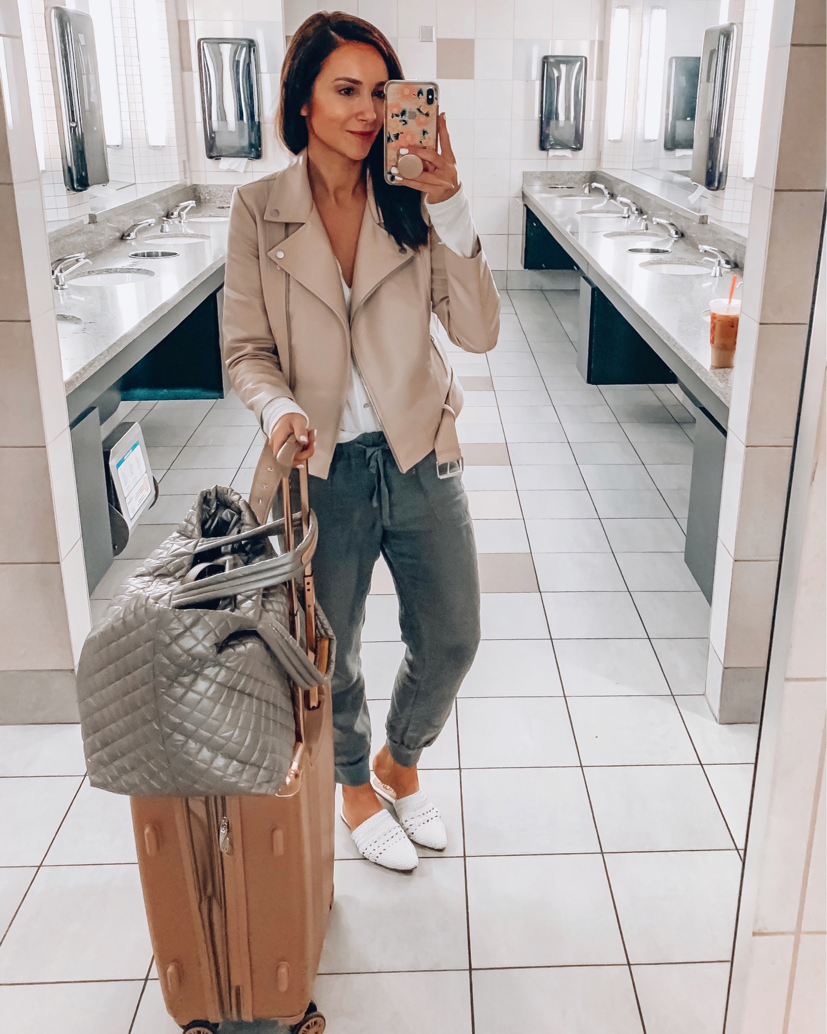 woman travel style, mz wallace tote