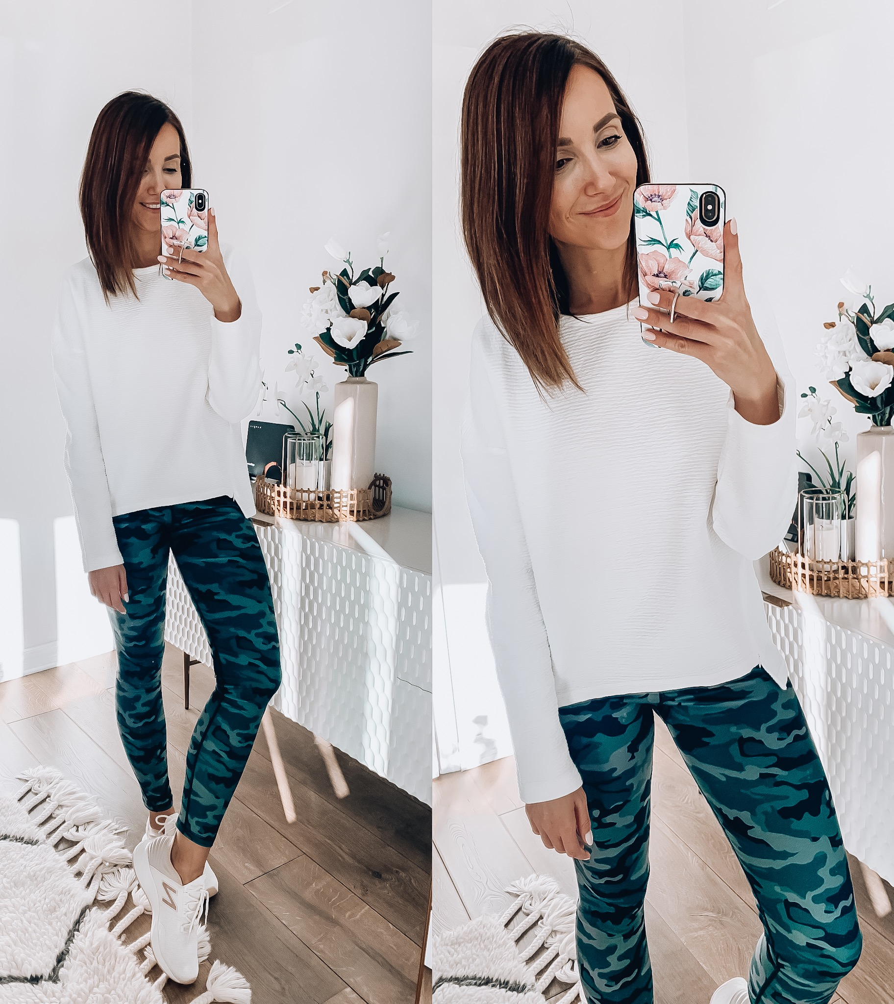 woman wearing athleisure wear, camo leggings, white sweatshirt