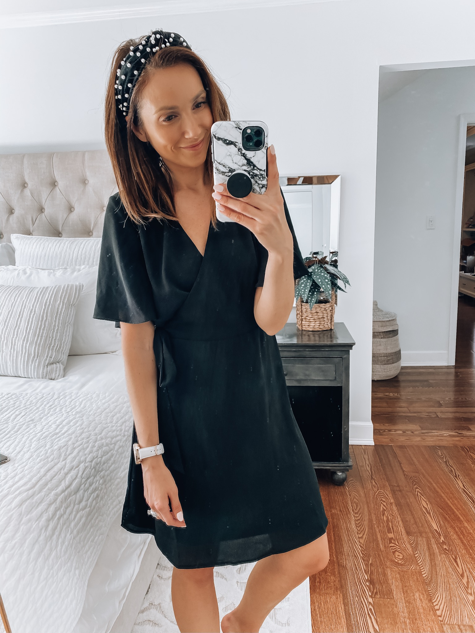 Woman wearing wrap dress, walmart fashion
