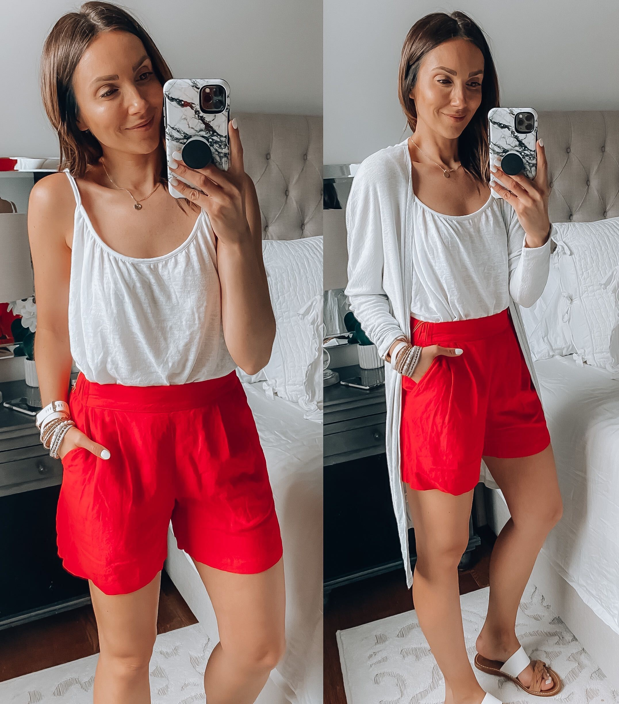 white tank, red pull on shorts